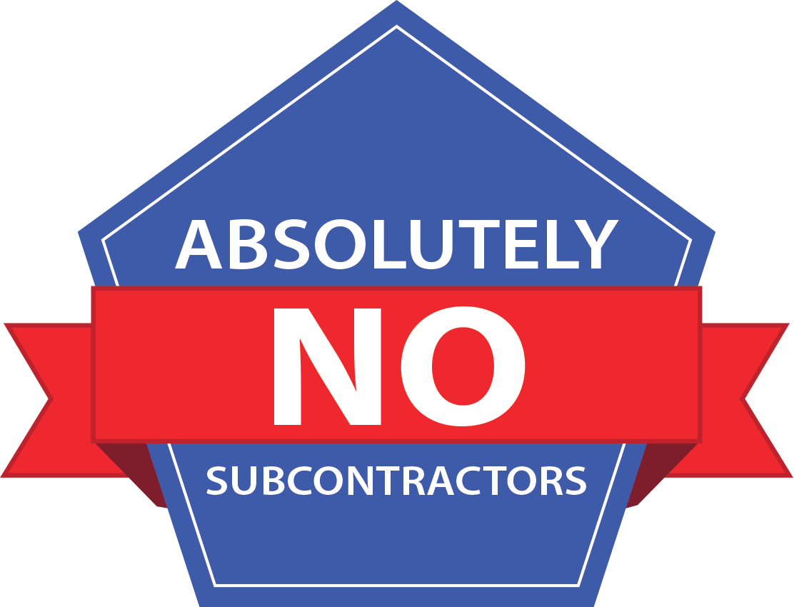 absolutely no subcontractors badge